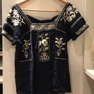 J crew linen / cotton embroidered top